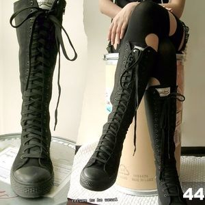 d016e3c86f0067 Converse Shoes - Converse all black knee high top sneakers